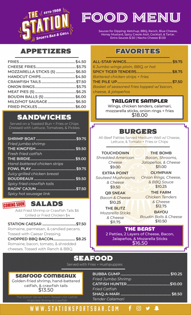 The Station Baton Rouge Food Menu